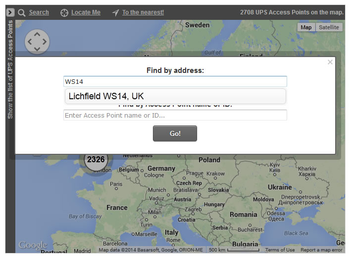 Access Points Map with Postcode